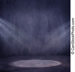 vacío, grungy, escena, con, 2, luz, spo