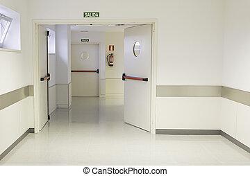 vacío, hospital, vestíbulo, con, blanco, paredes, medicina