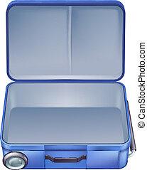 vacío, ilustración, maleta