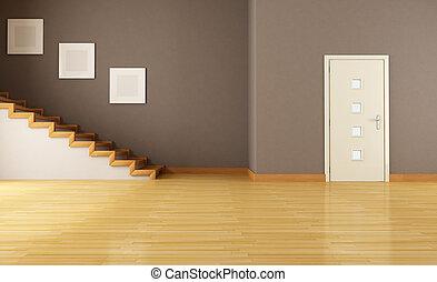 vacío, interior, con, puerta, y, escalera