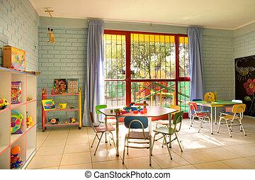 vacío, jardín de la infancia, aula, en, chile