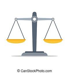 vacío, justicia, balanzas., icon., vector, escalas