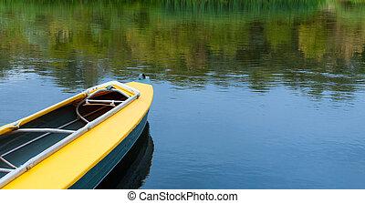vacío, kayac, sin, turista, en, river.