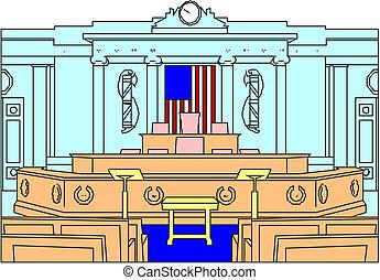 vacío, moderno, courtroom