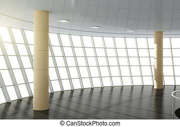 vacío, moderno, oficina, grande, windows