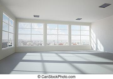 vacío, moderno, oficina, habitación