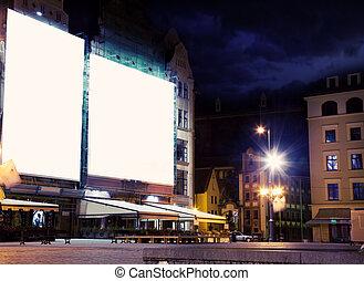 vacío, panel blanco, encima, ciudad, noche, plano de fondo