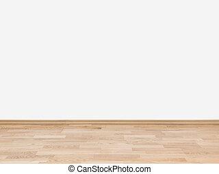 vacío, pared blanca, con, piso de madera