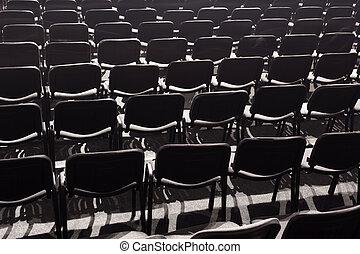 vacío, parterre, en, un, concierto, hall.