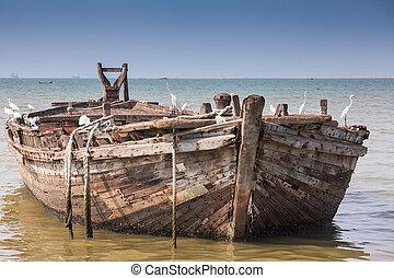 vacío, playa, barco, en, el, mar