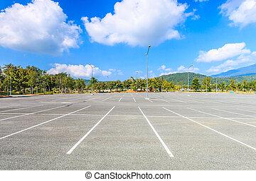 vacío, playa de estacionamiento