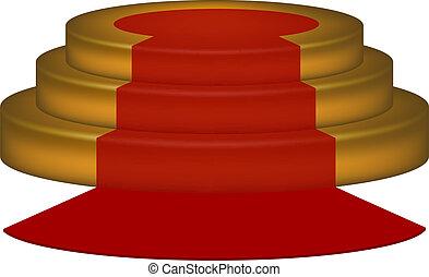 vacío, podio, con, alfombra roja