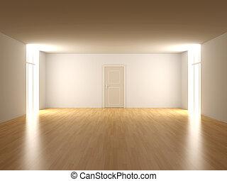 vacío, puerta, habitación