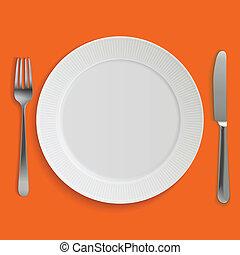 vacío, realista, placa de cena, cuchillo y tenedor