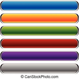 vacío, rectangular, botón, fondos, corners., horizontal, barras., botones, colorido, space., conjunto, redondeado, bandera