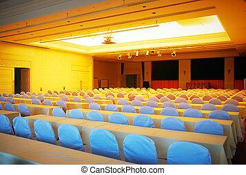 vacío, sala de conferencias, en, el, hotel