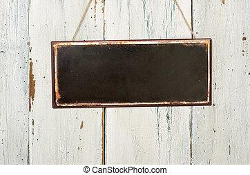 vacío, signo metal, delante de, un, blanco, pared de madera