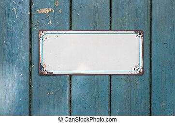 vacío, signo metal, delante de, un, pared de madera
