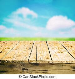 vacío, tabla de madera, aire libre, en el campo