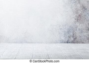 vacío, tabla de madera, delante de, pared de piedra