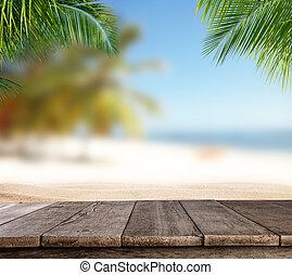 vacío, tablas de madera, con, mancha, playa, fondo