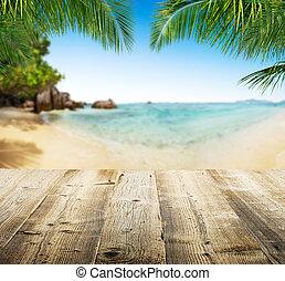 vacío, tablas de madera, con, playa tropical, fondo
