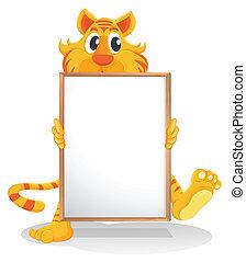 vacío, tenencia, whiteboard, tigre