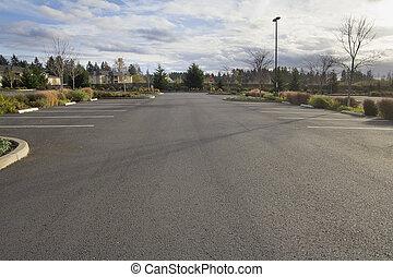vacío, terreno, estacionamiento