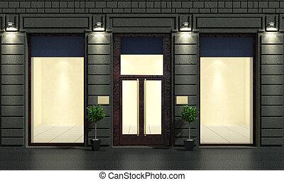 vacío, tienda, vitrina, en, el, noche