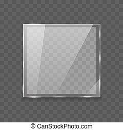 vacío, translúcido, forma cuadrada, lente, vidrio