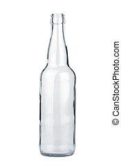 vacío, transparente, botella de cerveza