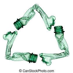vacío, utilizado, basura, botella, ecología, env