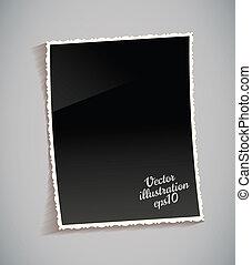 vacío, vendimia, marco de la foto, en, tabla