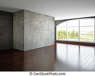 vacío, viejo, habitación, pared