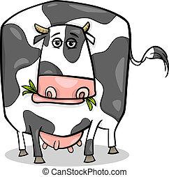 vaca, animal granja, caricatura, ilustración