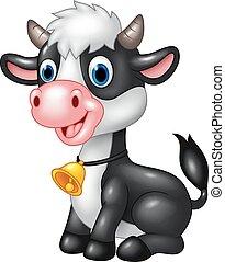 vaca, bebé, feliz, sentado, animal