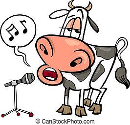 vaca, cantando, caricatura, ilustração
