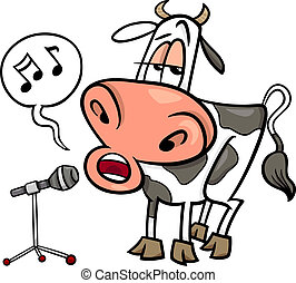 vaca, canto, caricatura, ilustración