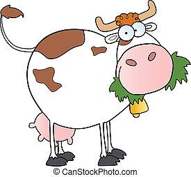 vaca, carácter, lechería, caricatura, blanco