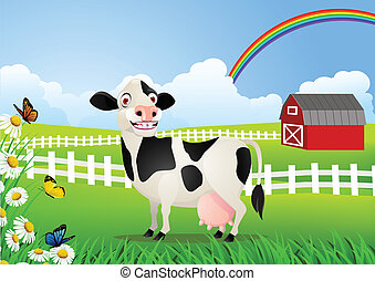 vaca, caricatura, en, pasto