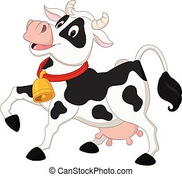 vaca, caricatura, feliz