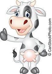 vaca, cima, polegar, caricatura, engraçado, dar