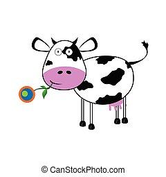 vaca, com, um, flor, vetorial, ilustração