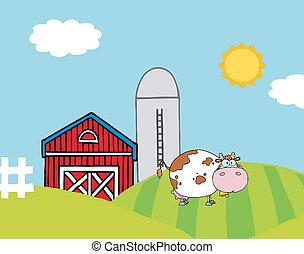 vaca, en, un, colina, cerca, un, silo, y, granero