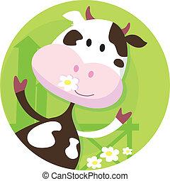 vaca, fazenda, personagem, -, animal, feliz