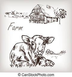 vaca, fazenda, set., casa, mão, vetorial, ilustração, desenhado, família