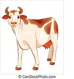 vaca, gengibre, feliz