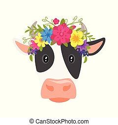 vaca, guirnalda, floral, cabeza