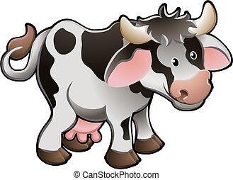 vaca, ilustração, cute, vetorial, leiteria