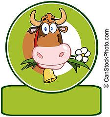 vaca, lechería, logotipo, mascota, caricatura